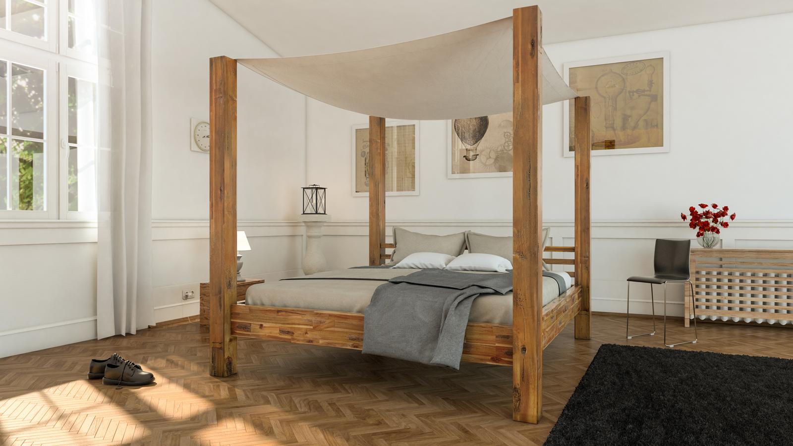 sale himmelbett 160x200 cm massivholzbett inkl himmel. Black Bedroom Furniture Sets. Home Design Ideas