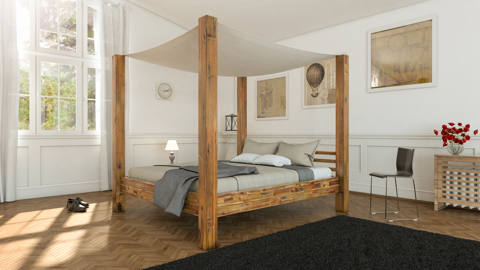 sale himmelbett 180x200 cm massivholzbett inkl himmel akazie bella. Black Bedroom Furniture Sets. Home Design Ideas