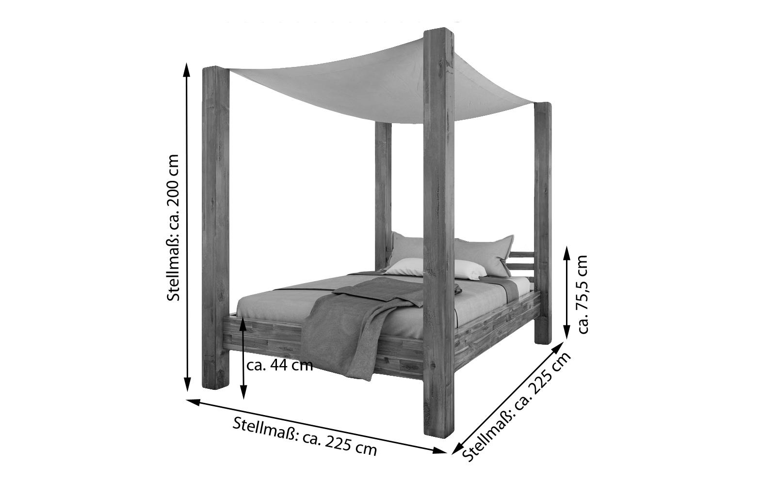 sale himmelbett 200x200 cm massivholzbett inkl himmel. Black Bedroom Furniture Sets. Home Design Ideas