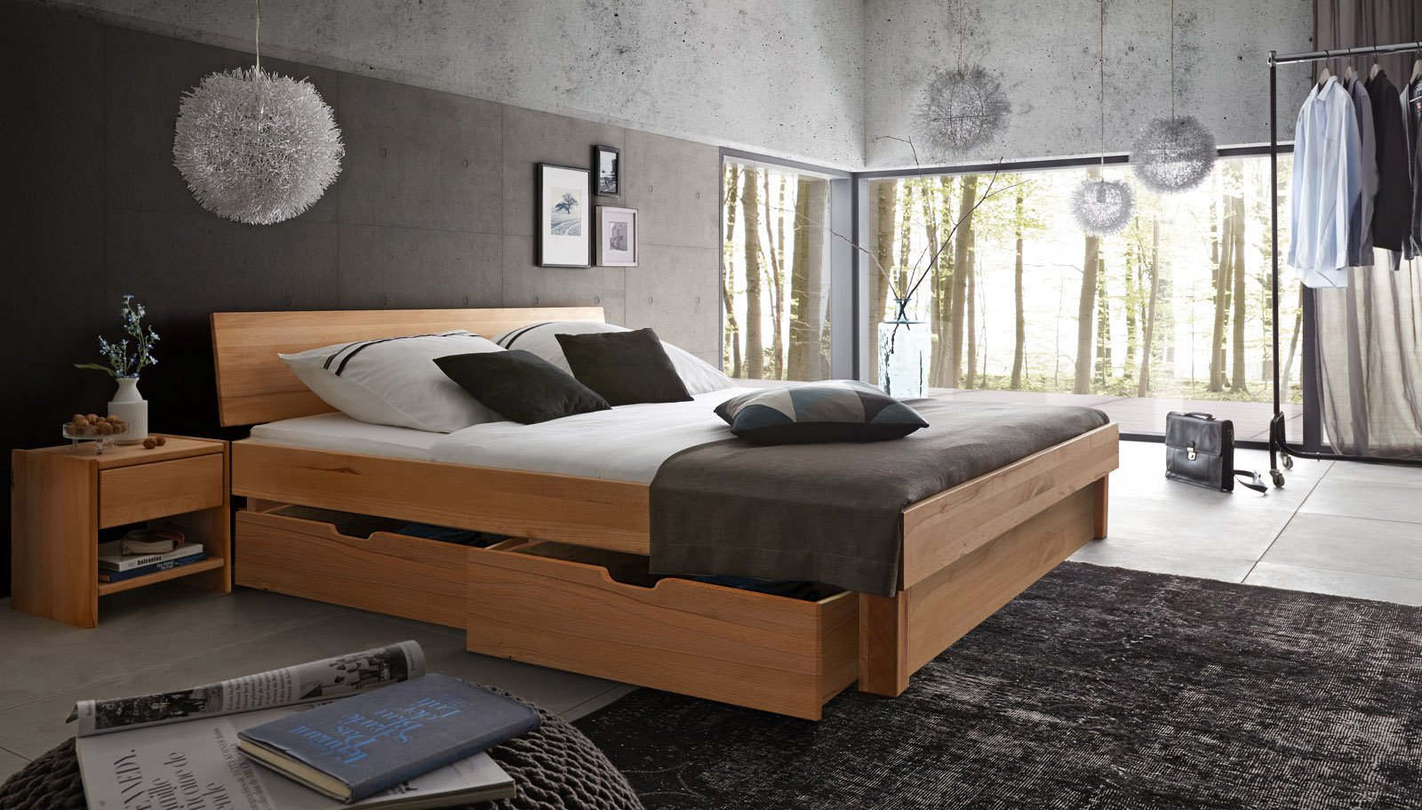 sam massivholzbett 200x200 kernbuche bettkasten holzbett. Black Bedroom Furniture Sets. Home Design Ideas