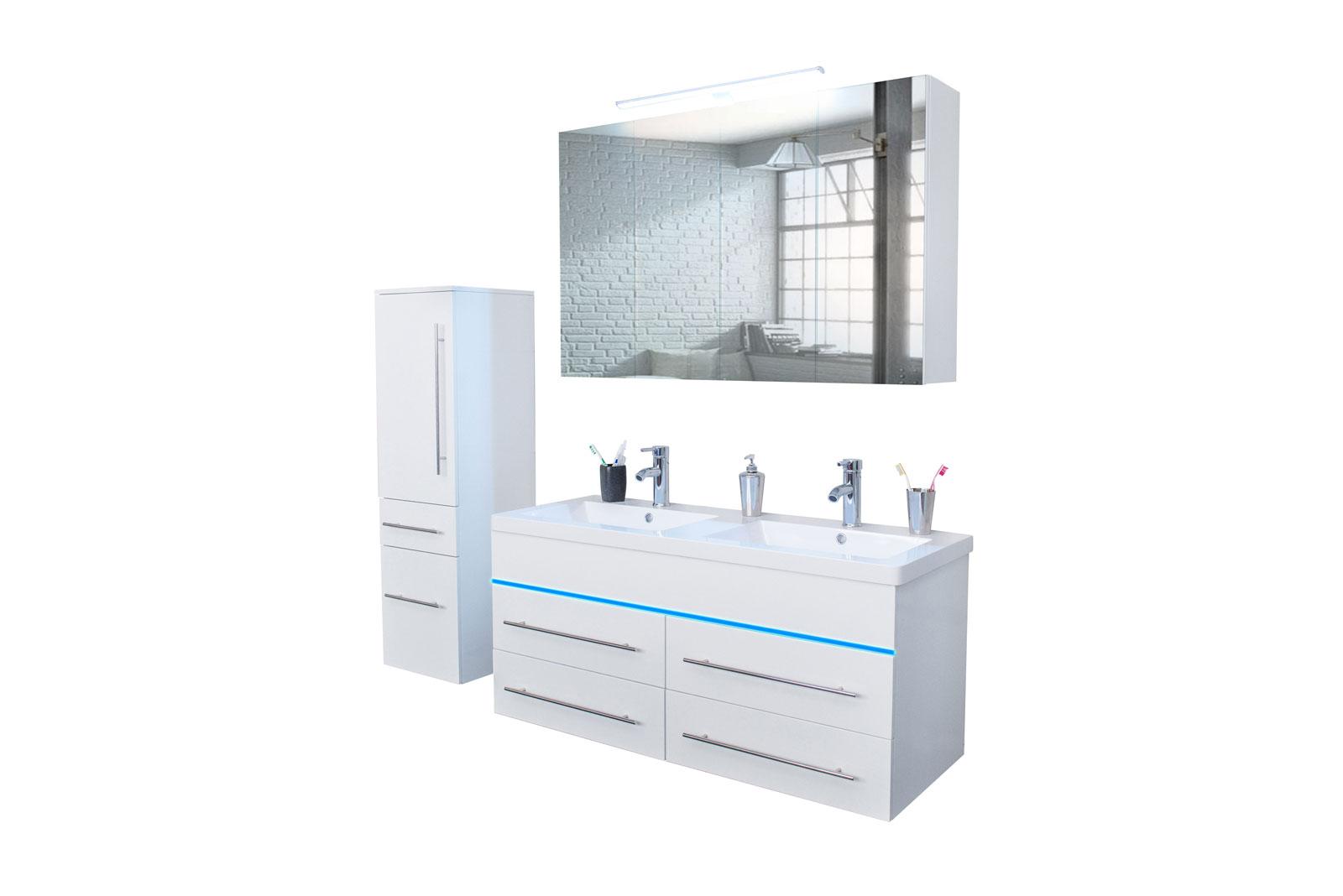 SAM® Badmöbel Set 3tlg Doppelwaschtisch LED 120 cm weiß Divino | {Badmöbel doppelwaschtisch günstig 51}