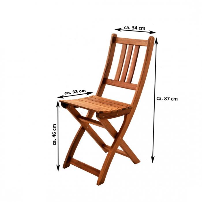 SAM® Gartenmöbel Balkonmöbel 5tlg Akazie Tisch 80 cm klappbar Skara
