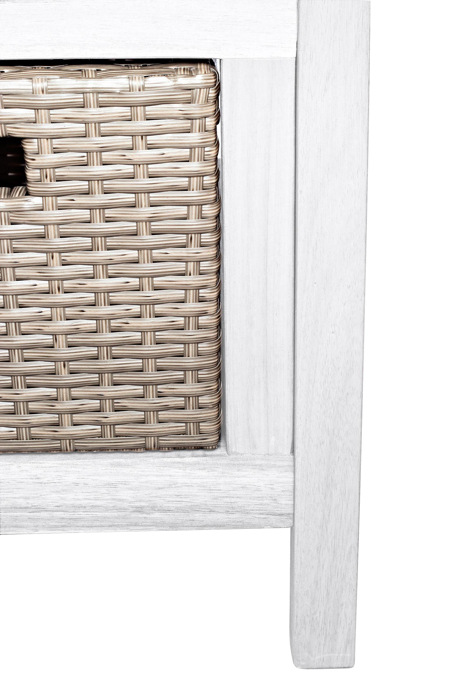 SAM® Gartenbank Akazie 120 cm Sitzbank mit 3 Körben weiß FAUNA