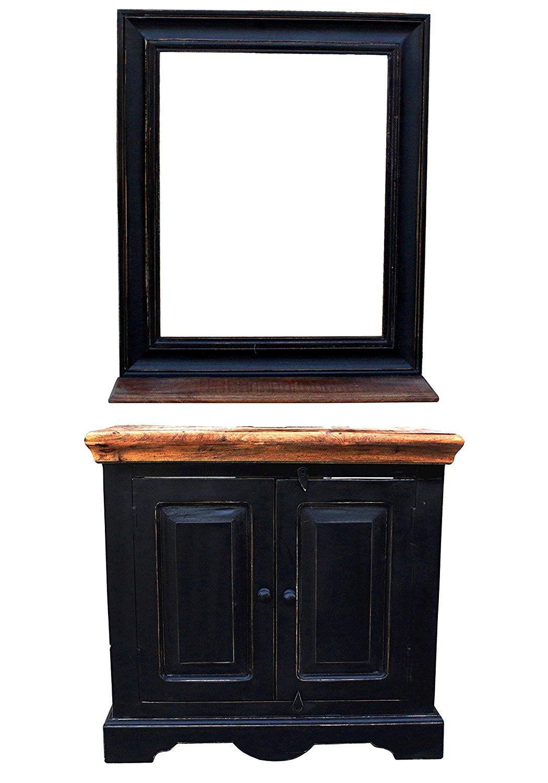 Cool SAM® Badmöbel Set 5tlg Waschtisch 70 cm Mangoholz schwarz CORIN NT39
