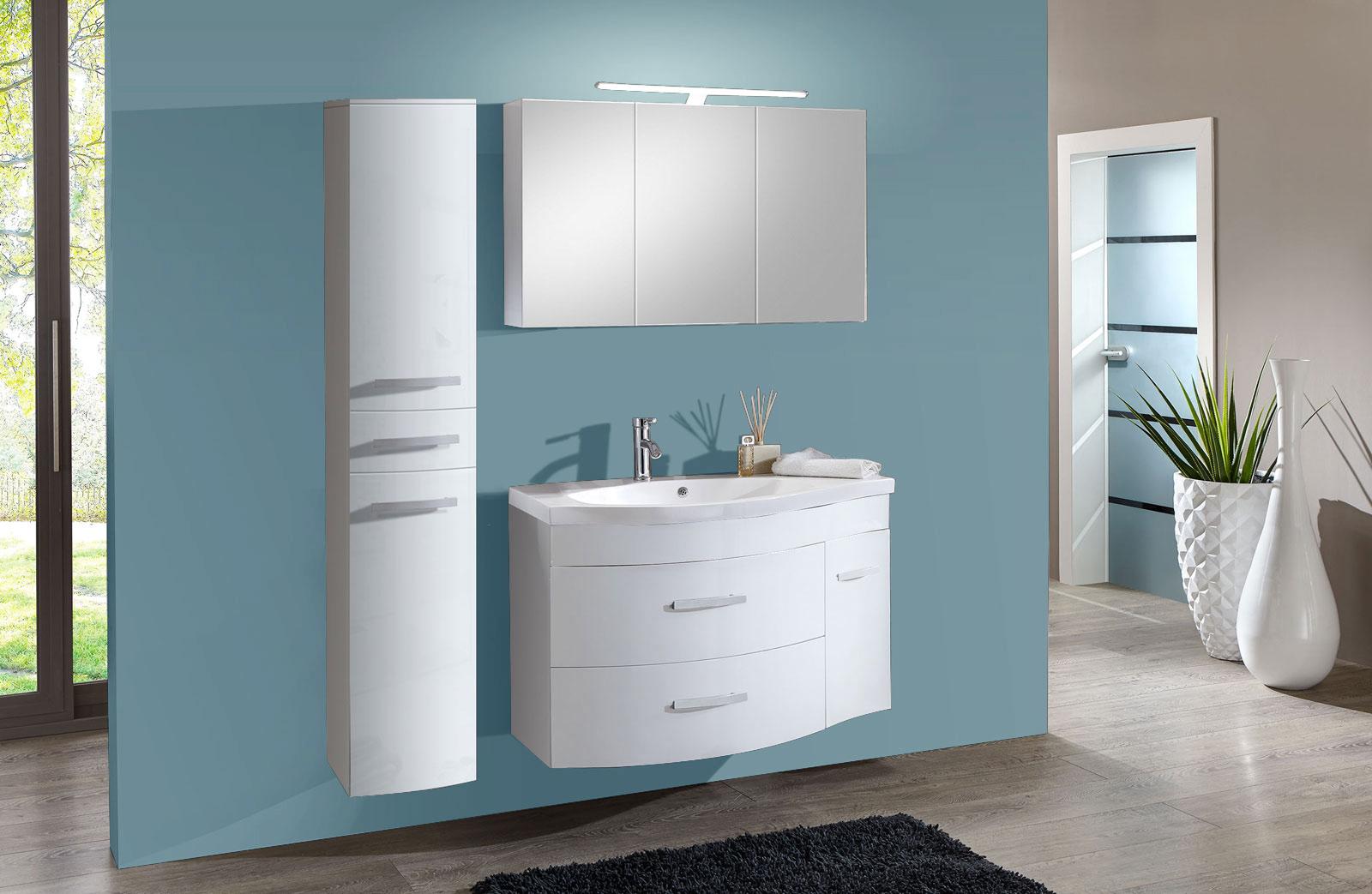 sam badm bel set 3tlg waschtisch 110cm hochglanz wei lugano xl. Black Bedroom Furniture Sets. Home Design Ideas