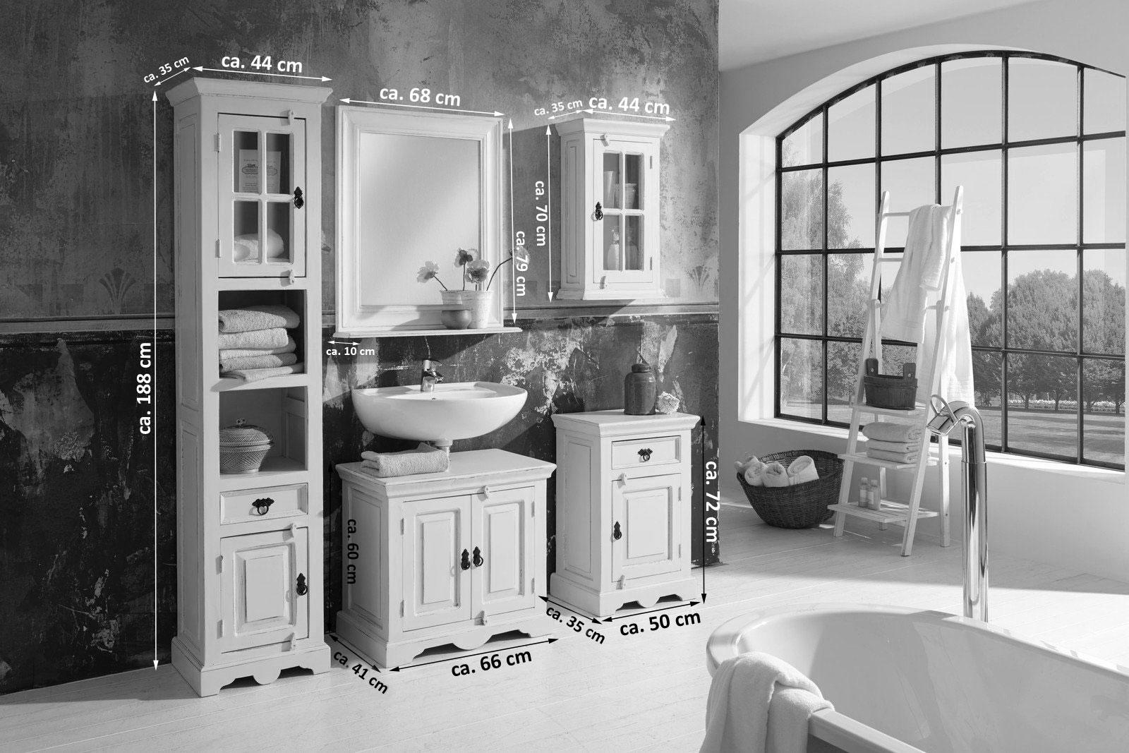 SAM® Badmöbel Set 5tlg Waschtisch 70 cm Holz weiß Toledo | {Badezimmer landhausstil weiss 7}