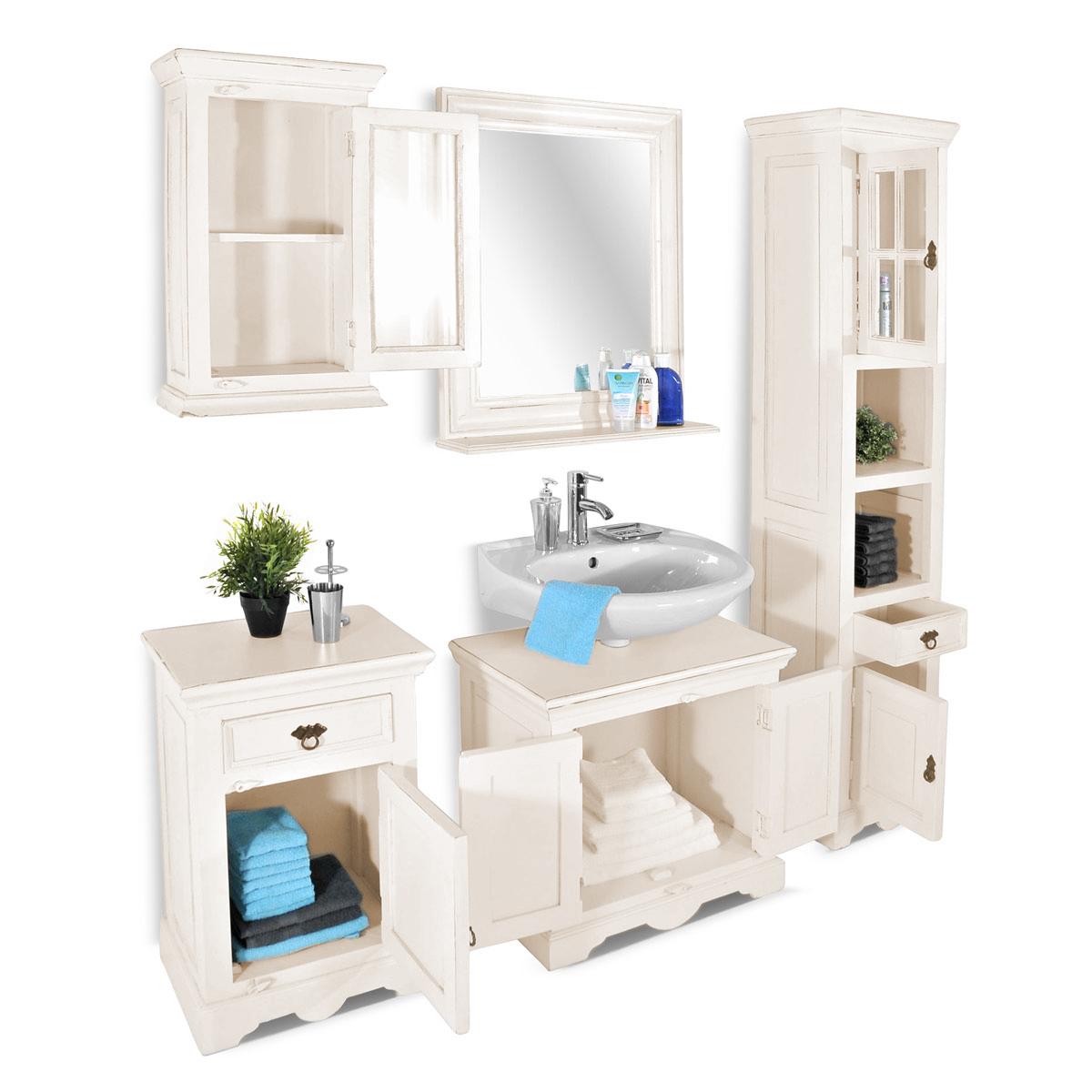 SAM® Badmöbel Set 5tlg Waschtisch 70 cm Holz weiß Toledo
