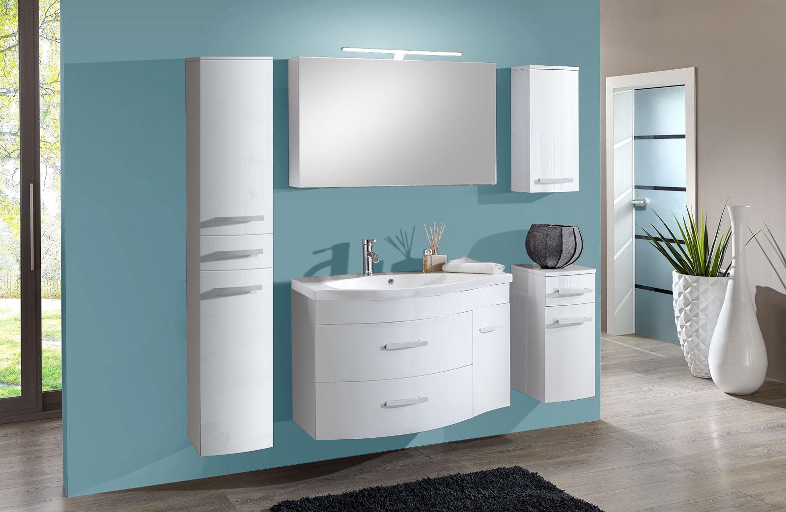 sam badm bel set 5tlg waschtisch 110 cm hochglanz wei lugano xl. Black Bedroom Furniture Sets. Home Design Ideas