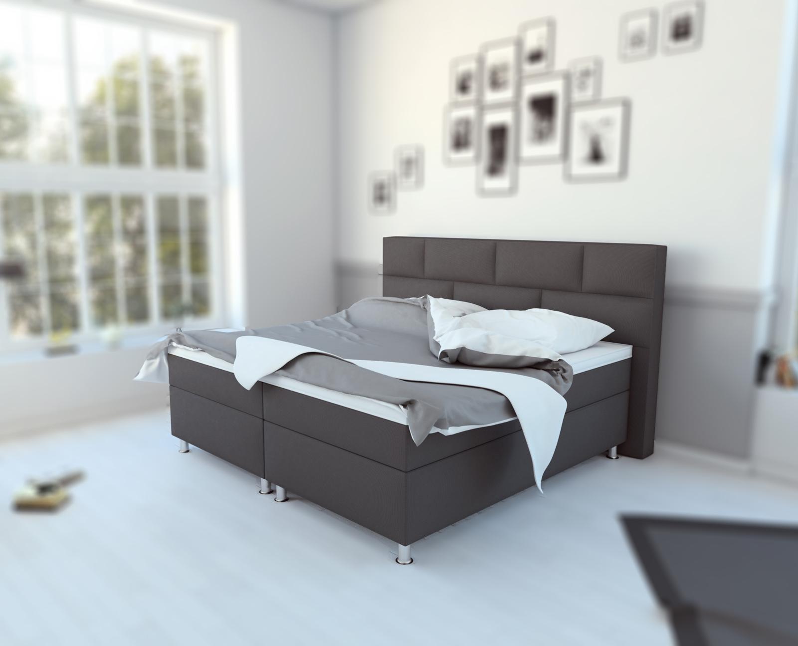 sale boxspringbett hotelbett 180 x 200 cm stoff grau olivia. Black Bedroom Furniture Sets. Home Design Ideas