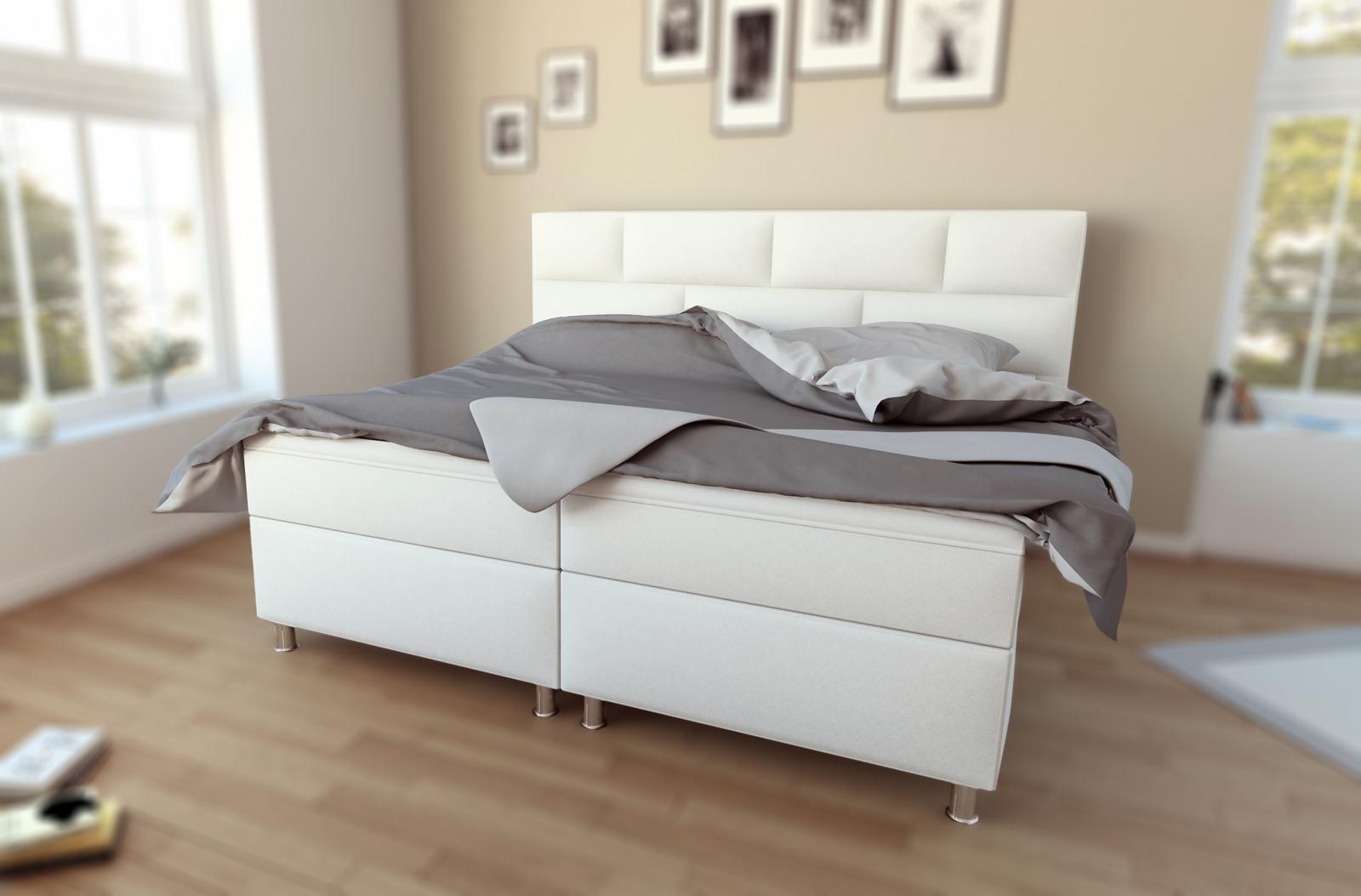 sam boxspringbett hotelbett doppelbett 180 x 200 cm wei olivia. Black Bedroom Furniture Sets. Home Design Ideas