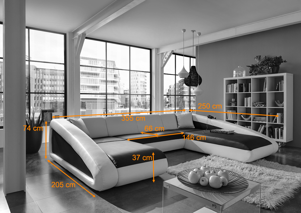 sam couch schwarz schwarz wei rechts wohnlandschaft ciao. Black Bedroom Furniture Sets. Home Design Ideas