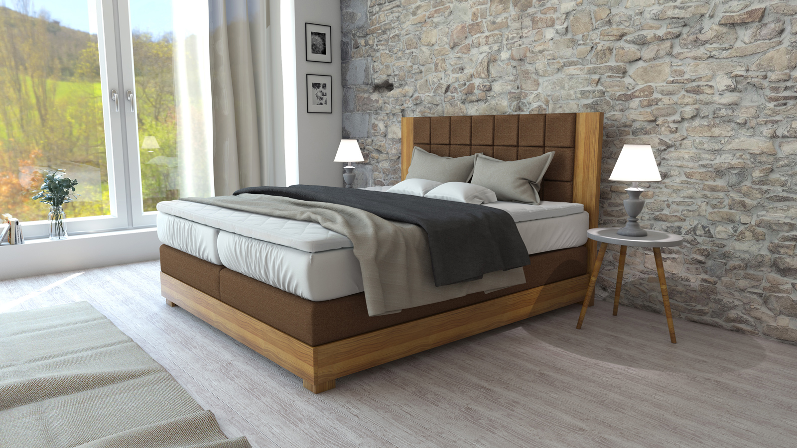 sam boxspringbett eichenholz stoffbezug braun 180 x 200 cm tiwood demn chst. Black Bedroom Furniture Sets. Home Design Ideas