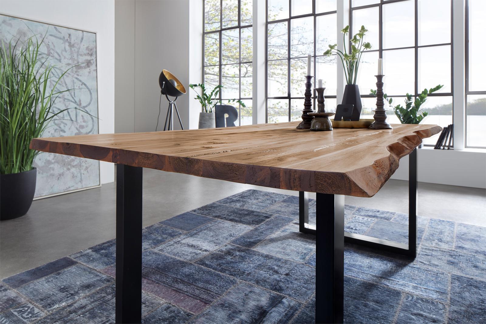 sam esstisch baumkante massiv akazie 200 x 100 cm schwarz noah demn chst. Black Bedroom Furniture Sets. Home Design Ideas