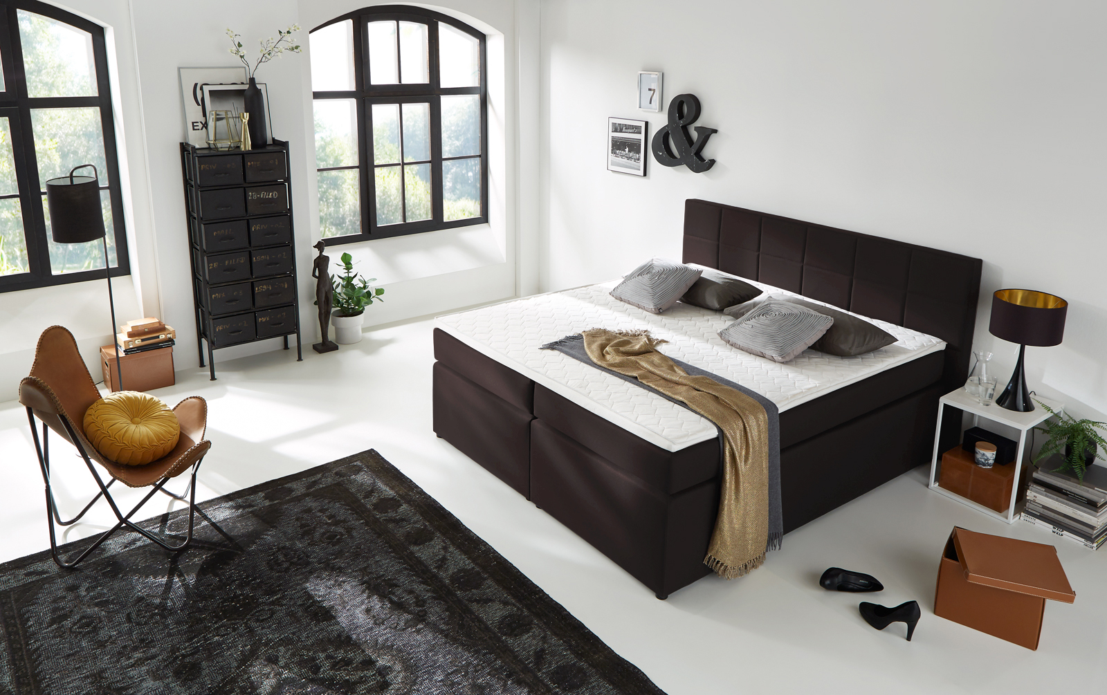 sam boxspringbett h3 stoffbezug 180x200 cm hotelbett braun sassari. Black Bedroom Furniture Sets. Home Design Ideas