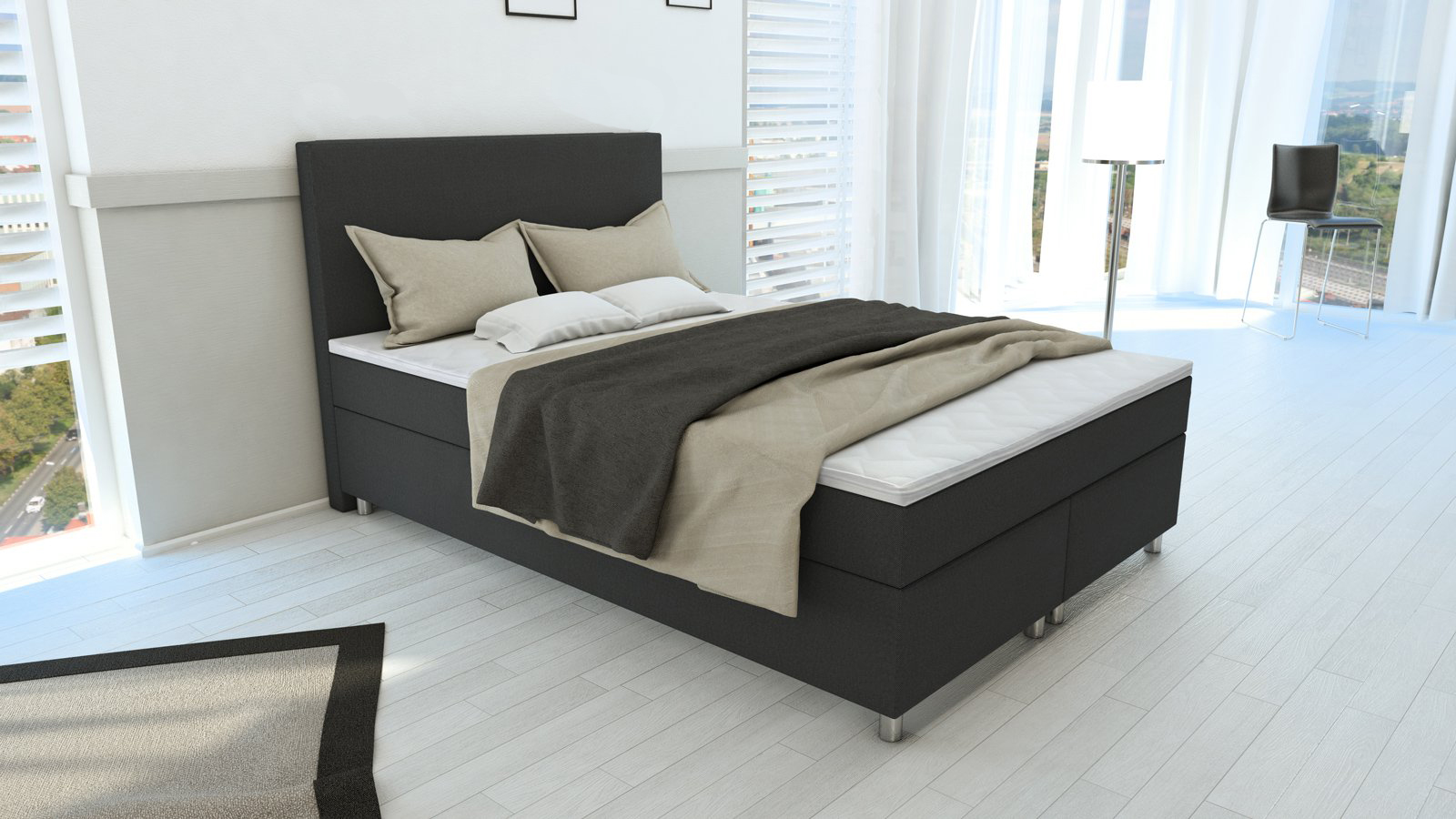 sam boxspringbett stoffbezug grau 140 x 200 cm hotelbett malmb. Black Bedroom Furniture Sets. Home Design Ideas