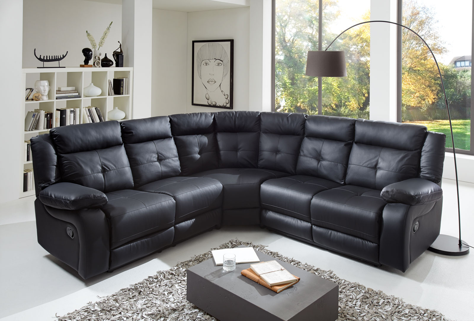 sale ecksofa wohnlandschaft relaxsessel 190 cm schwarz alessio. Black Bedroom Furniture Sets. Home Design Ideas