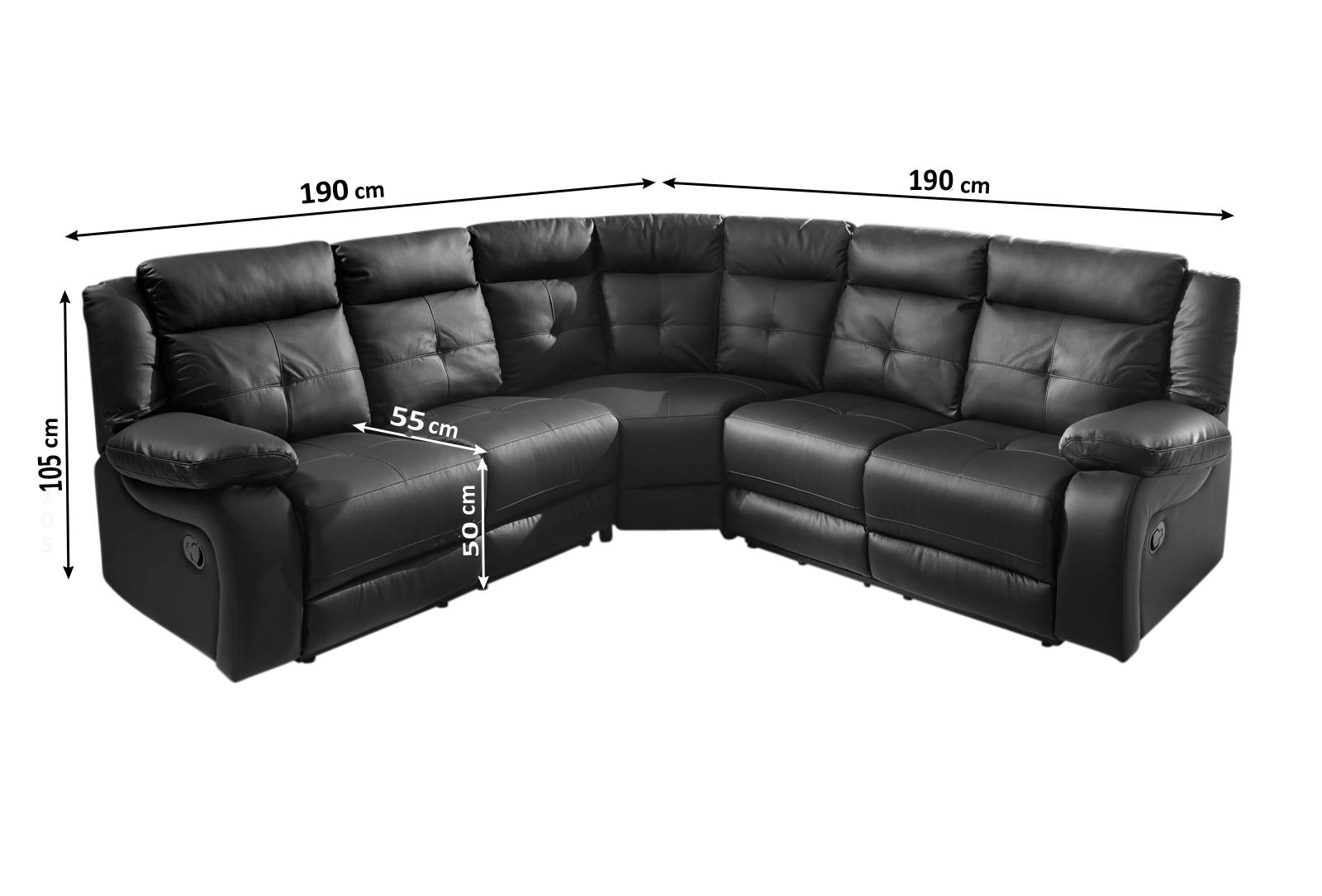 sale ecksofa wohnlandschaft relaxsessel 190 cm schwarz alessio. Black Bedroom Furniture Sets. Home Design Ideas