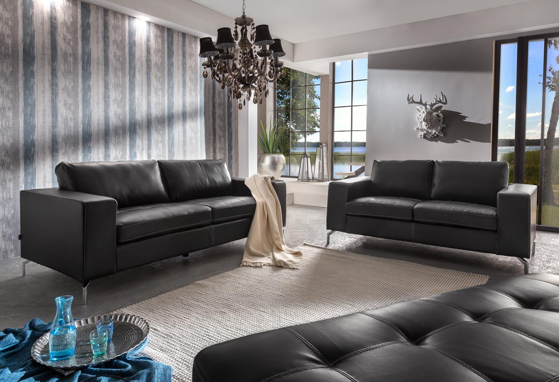 SALE Wohnlandschaft Couchgarnitur 2tlg Sofa dunkelgrau Belair
