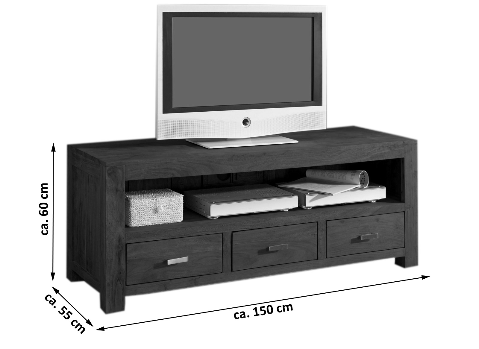 sale lowboard tv board 150 cm akazie massiv tabak timber 6618. Black Bedroom Furniture Sets. Home Design Ideas