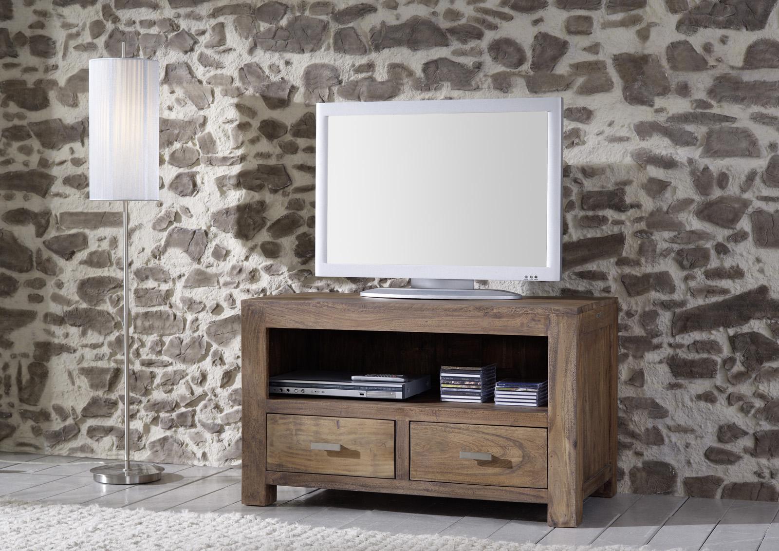 sale lowboard tv board 100 cm akazie massivholz stone. Black Bedroom Furniture Sets. Home Design Ideas