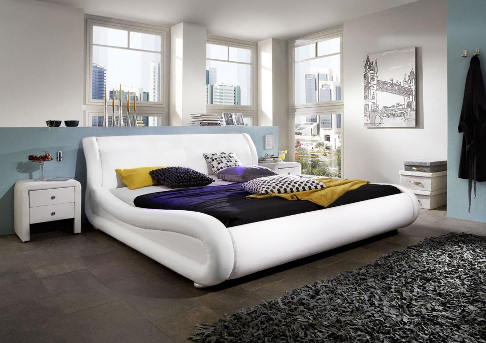 sale polsterbett bettgestell 140 x 200 cm wei clip. Black Bedroom Furniture Sets. Home Design Ideas