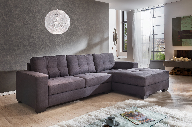 sale couch ecksofa polsterecke 270 x 165 cm grau stoff rechts aviano. Black Bedroom Furniture Sets. Home Design Ideas