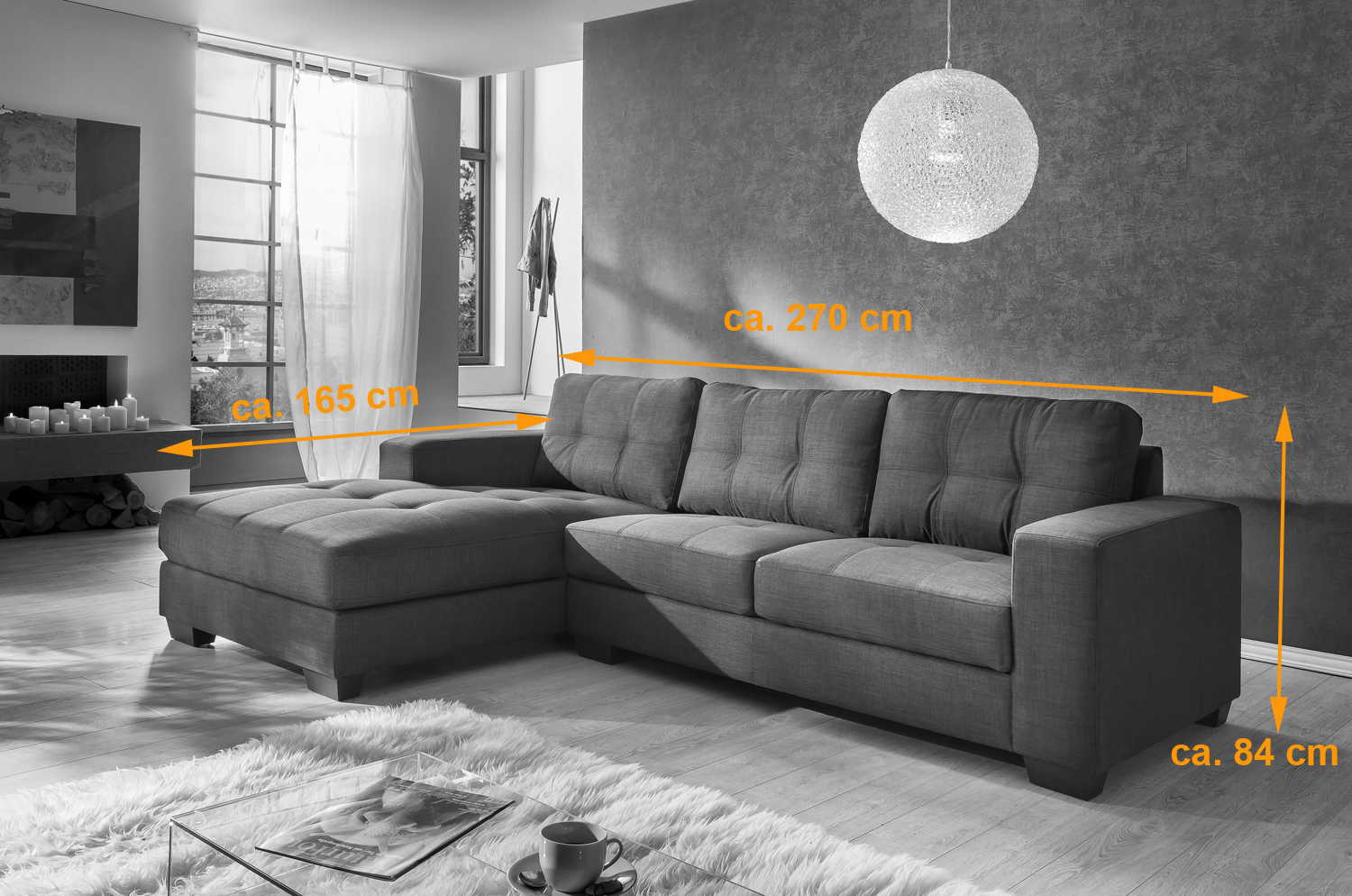 sale couch ecksofa polsterecke 270 x 165 cm grau stoff links aviano. Black Bedroom Furniture Sets. Home Design Ideas