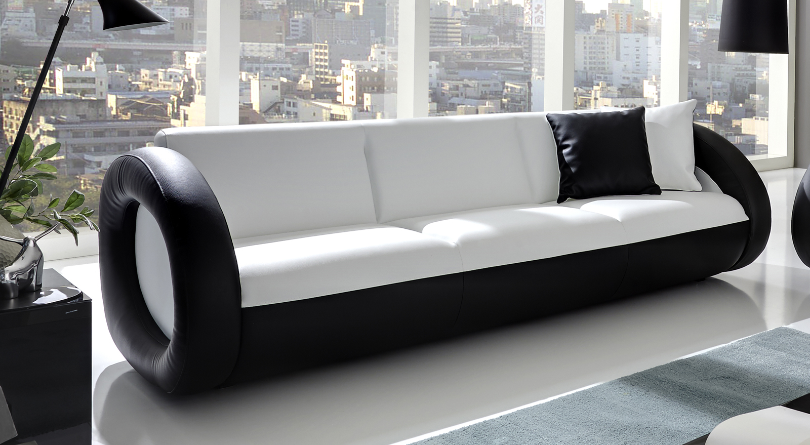 sale sofa couch garnitur 2 3 sitzer wei schwarz onda. Black Bedroom Furniture Sets. Home Design Ideas