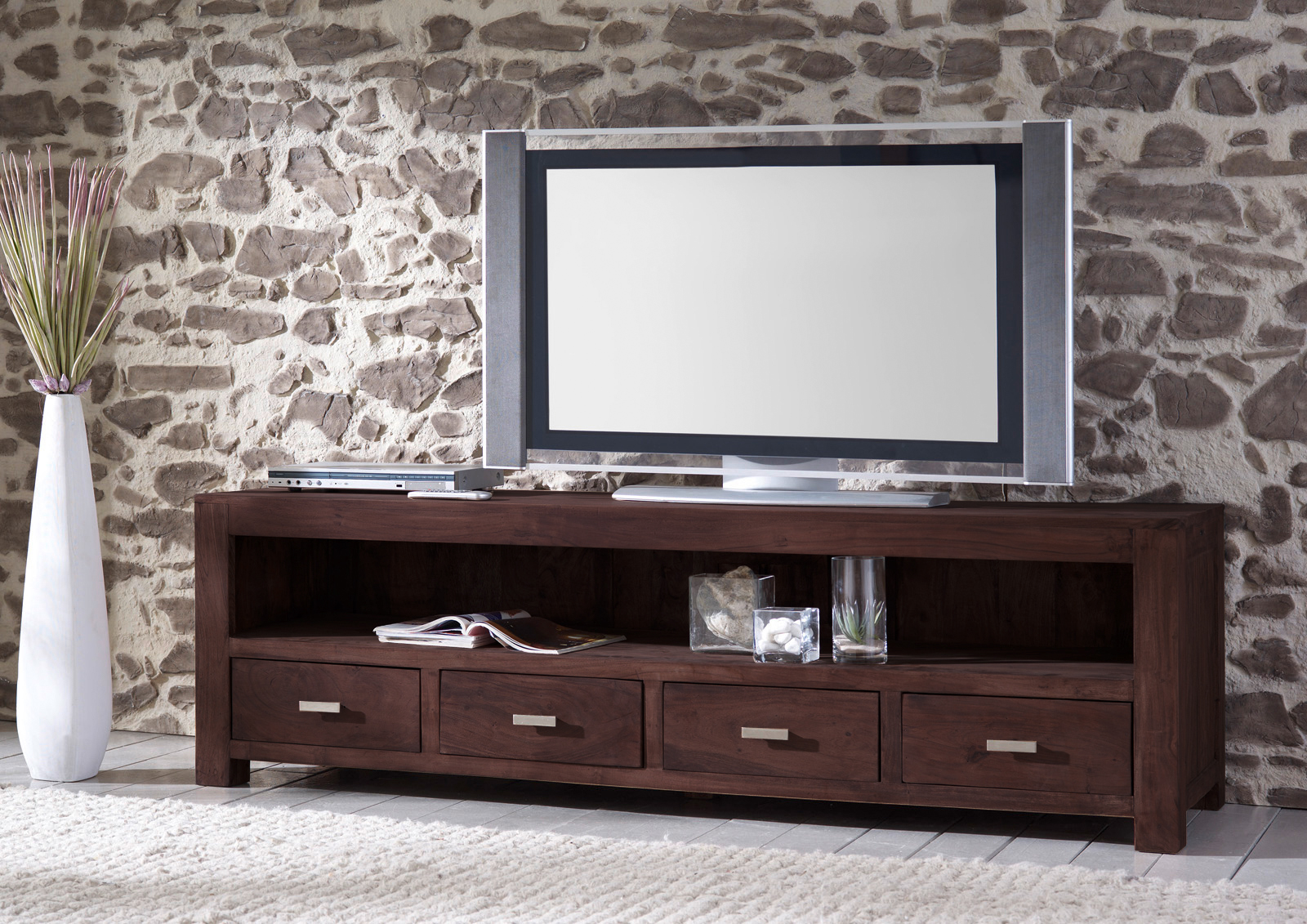 sale lowboard tv board 200 cm massivholz akazie tabak. Black Bedroom Furniture Sets. Home Design Ideas