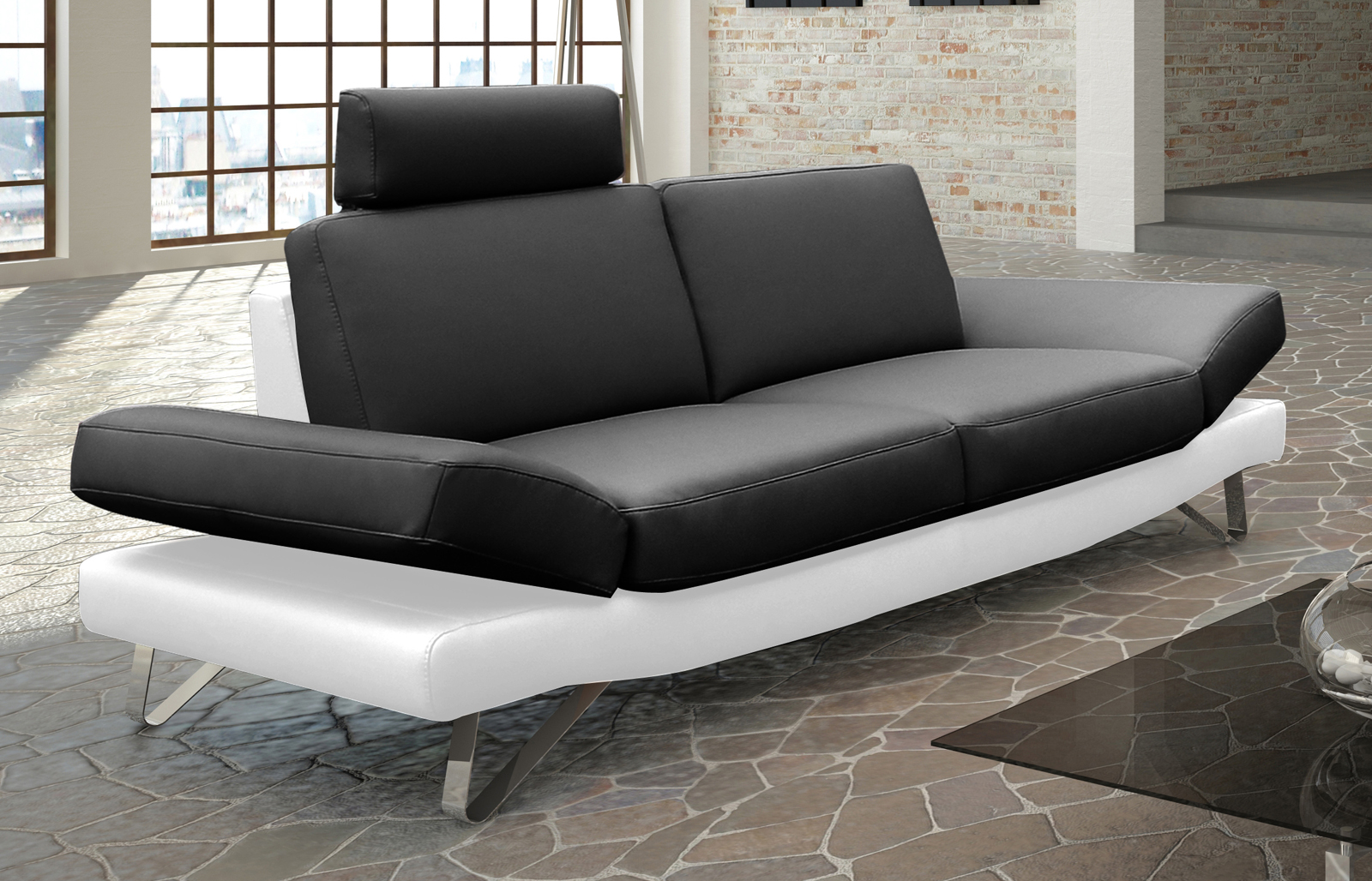 SALE Design Sofa Garnitur 2 & 3 Sitzer schwarz weiß CLASSIC