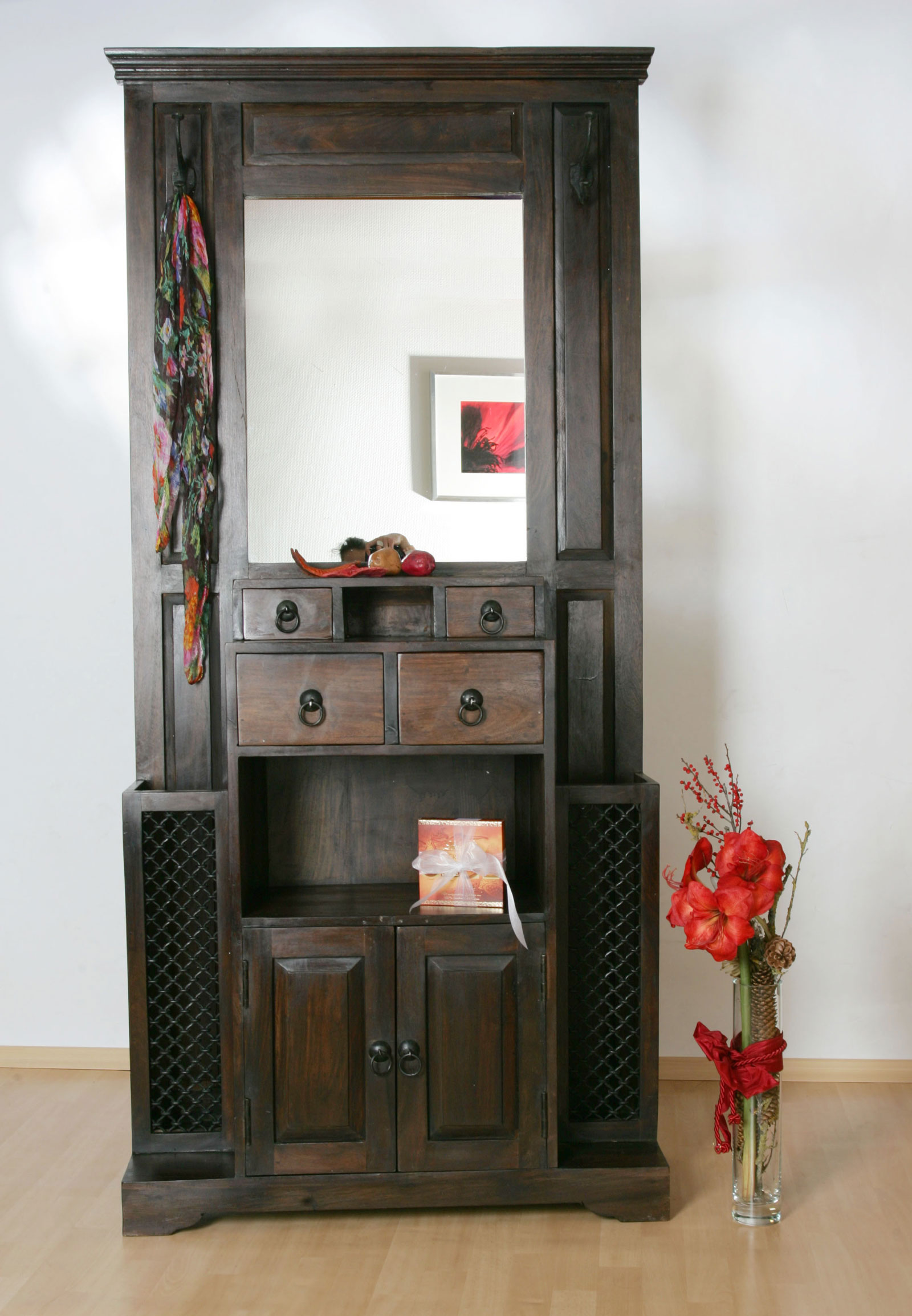 sale garderobe schrank 198 cm sheesham walnuss bombay 7031. Black Bedroom Furniture Sets. Home Design Ideas