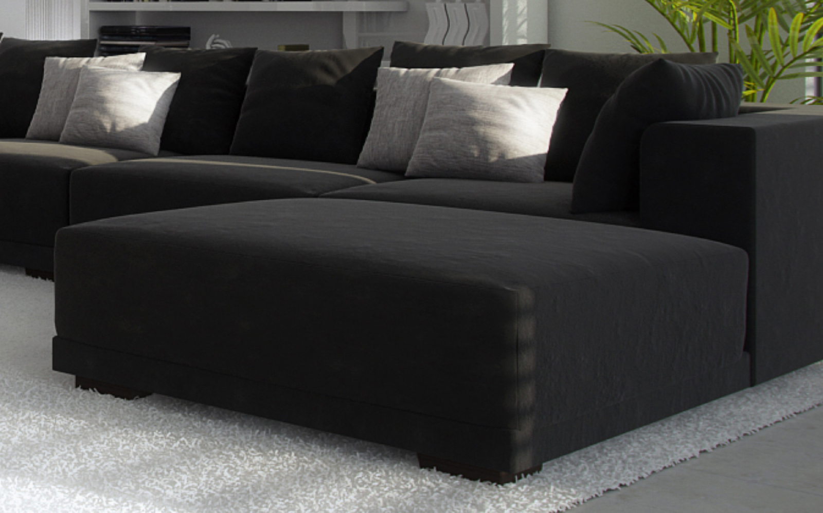 sale wohnzimmer hocker passend zur couch anima schwarz. Black Bedroom Furniture Sets. Home Design Ideas