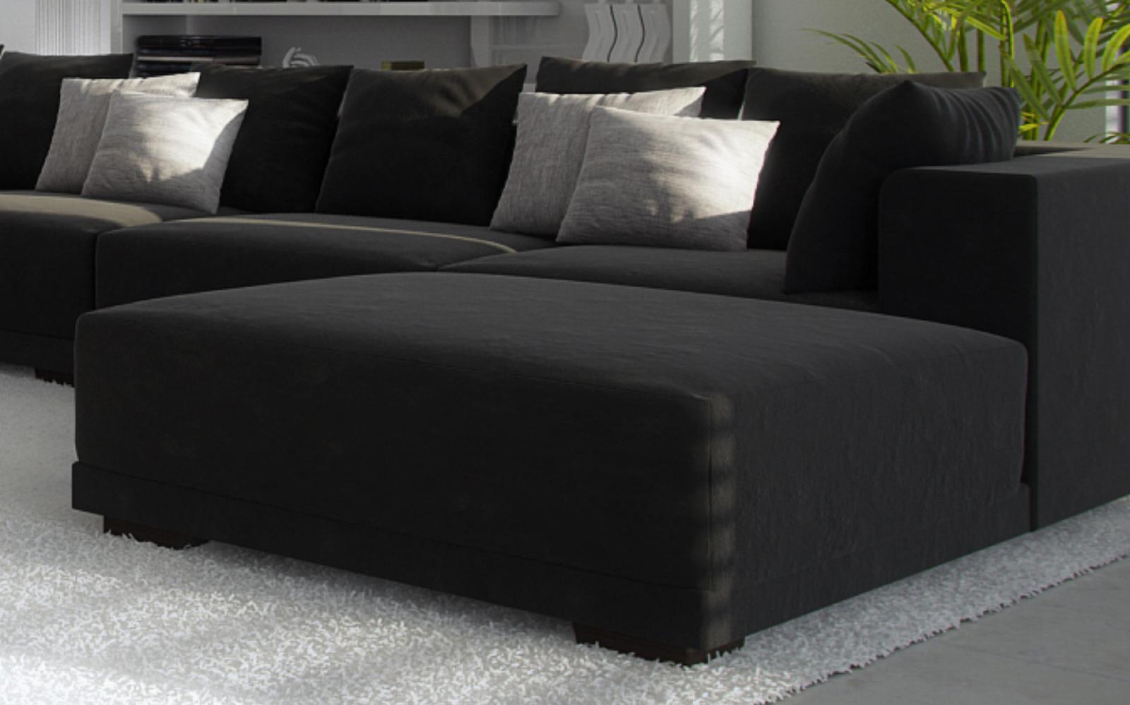 SALE Wohnzimmer Hocker passend zur Couch Anima schwarz