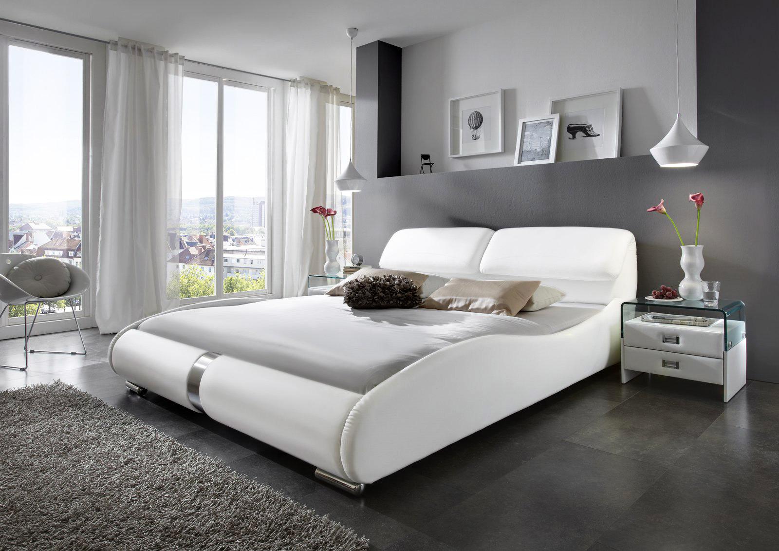 sale polsterbett g nstig wei 140 x 200 cm lucca. Black Bedroom Furniture Sets. Home Design Ideas