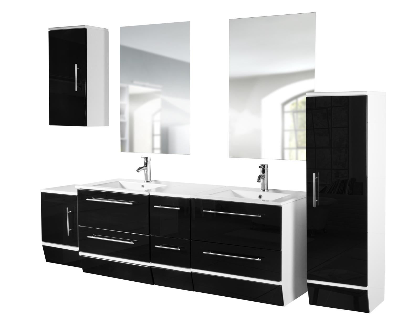 sale badm bel set 5tlg 150 cm schwarz wei hochglanz led jaro. Black Bedroom Furniture Sets. Home Design Ideas