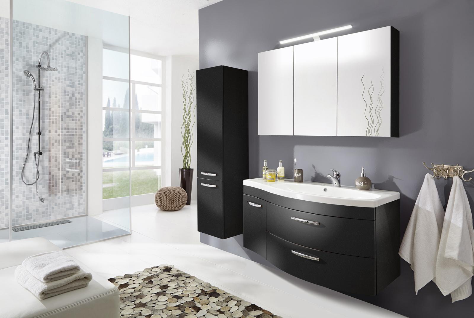 Bekannt SAM® Badmöbel Set 3tlg Waschtisch 110 cm anthrazit matt VENA rechts IJ95