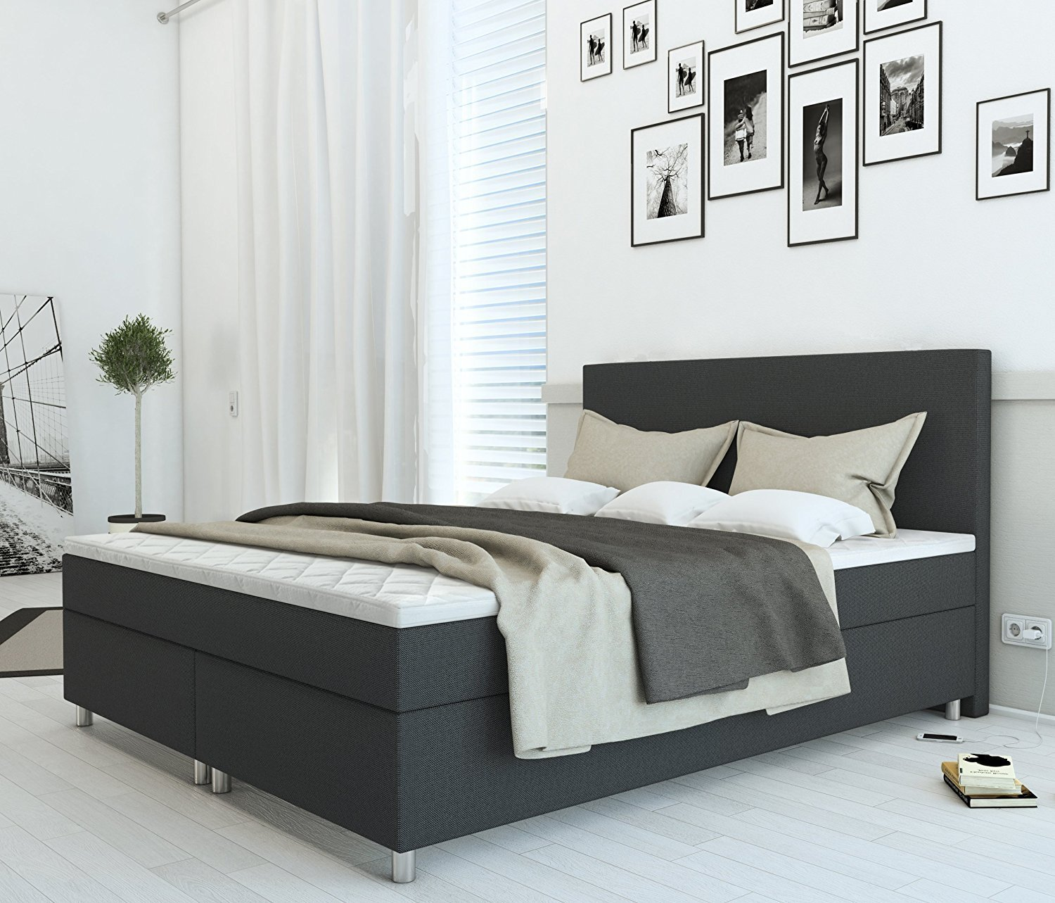 sam boxspringbett stoffbezug grau 160 x 200 cm hotelbett malmb demn chst. Black Bedroom Furniture Sets. Home Design Ideas