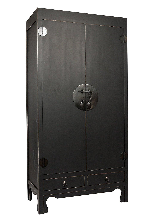 SAM® B-Ware-117 Schrank Massivholz Mahagoni schwarz 90x50x180 cm