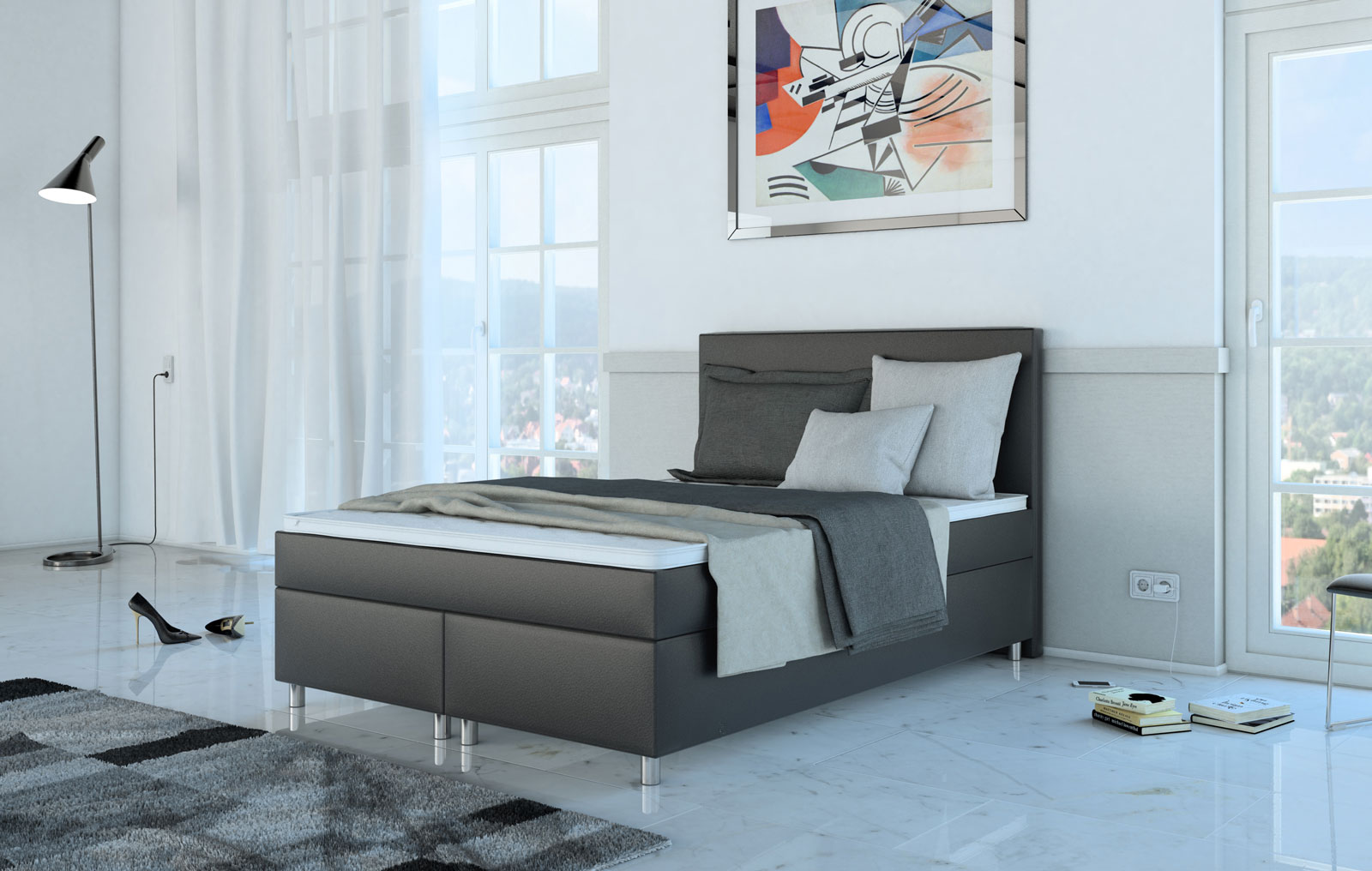sam boxspringbett hotelbett 140 x 200 cm grau neo demn chst. Black Bedroom Furniture Sets. Home Design Ideas
