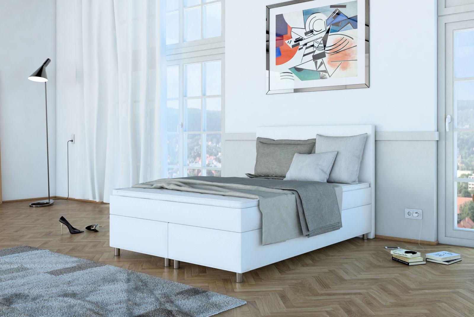 sam boxspringbett hotelbett 140 x 200 cm wei neo. Black Bedroom Furniture Sets. Home Design Ideas