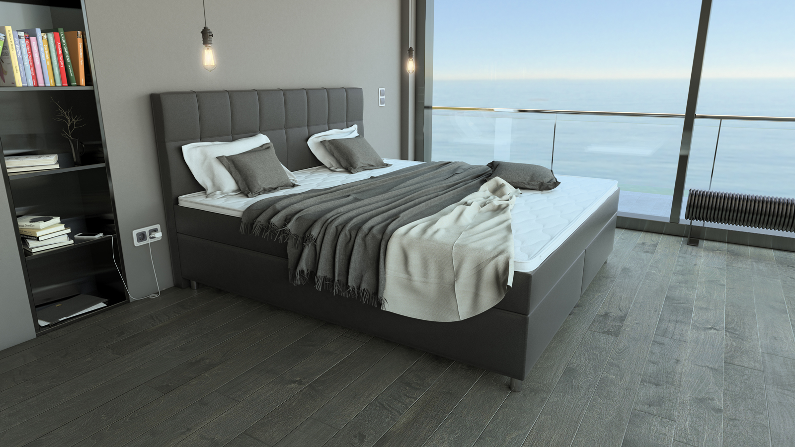 sam boxspringbett hotelbett 180x200 cm grau zalan demn chst. Black Bedroom Furniture Sets. Home Design Ideas