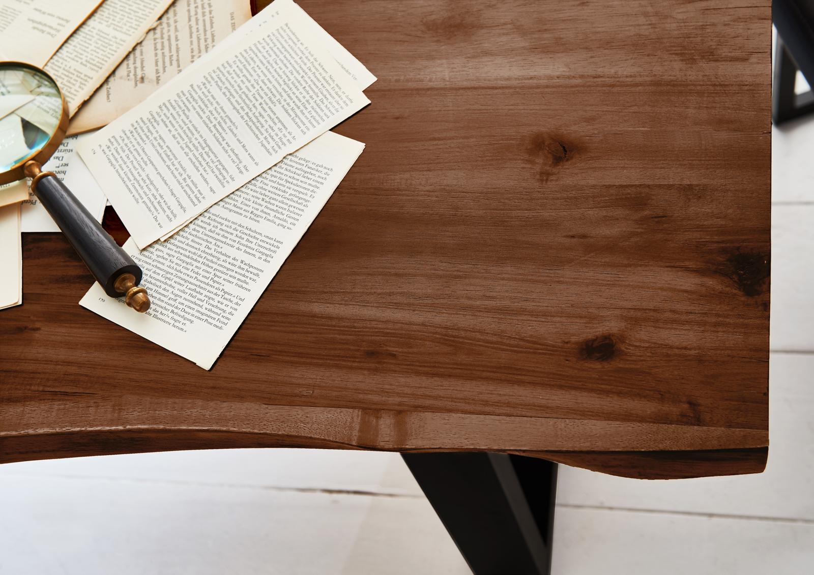 Esstisch Baumkante Massiv Akazie Nussbaum 200x100 Schwarz MILO