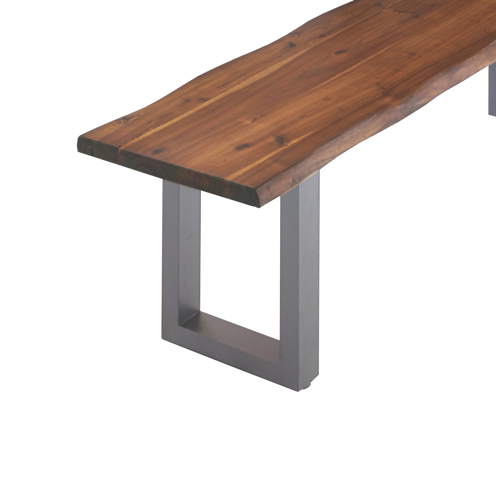 sam sitzbank baumkante 200 cm nussbaum massiv akazie silber milo demn chst. Black Bedroom Furniture Sets. Home Design Ideas