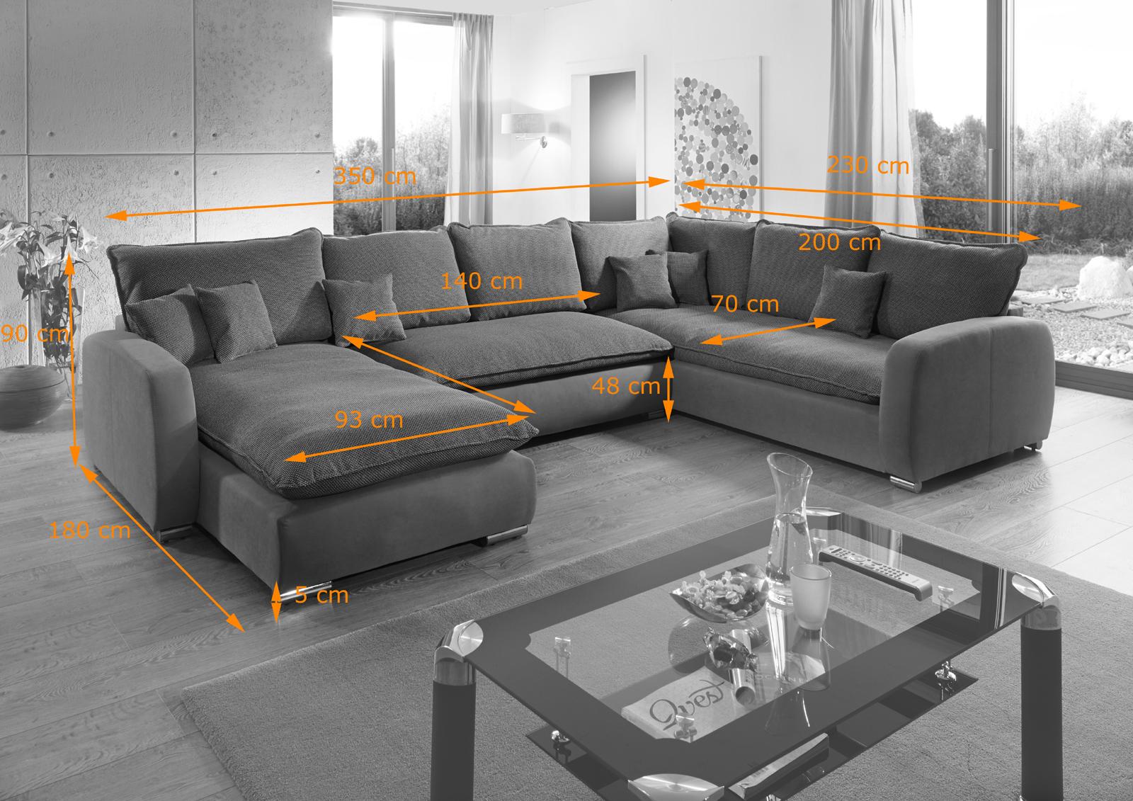 Sam sofa grau wohnlandschaft scala 180 x 350 x 230 cm for Sam wohnlandschaft