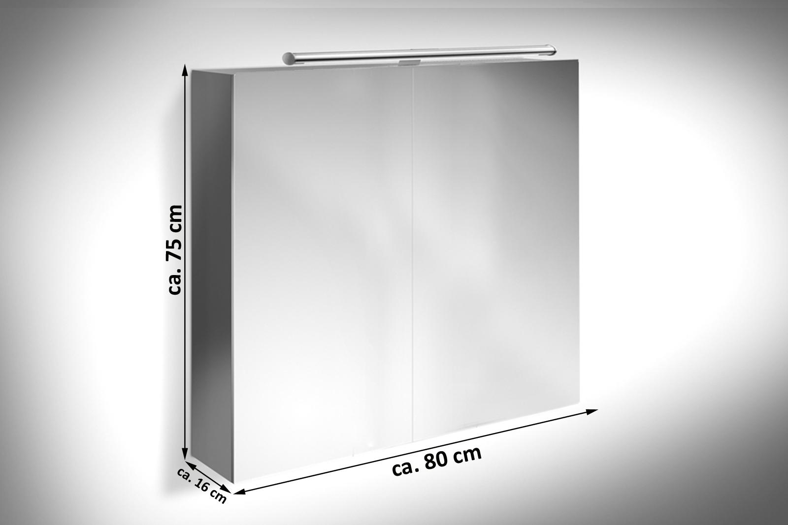 SAM® Badezimmer Spiegelschrank 80 Cm Hochglanz Grau VERENA