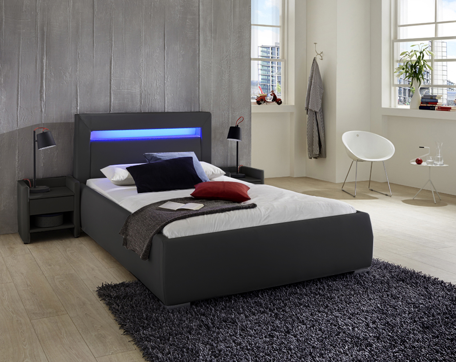 sale polsterbett 90x200 cm schwarz jugendbett led beleuchtung lumina. Black Bedroom Furniture Sets. Home Design Ideas