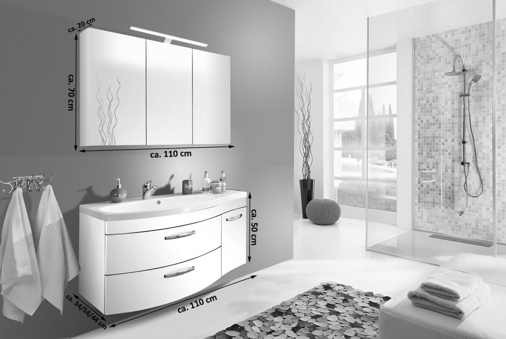 SAM® Badmöbel Set 2tlg Waschtisch 110 cm petrol matt VENA links