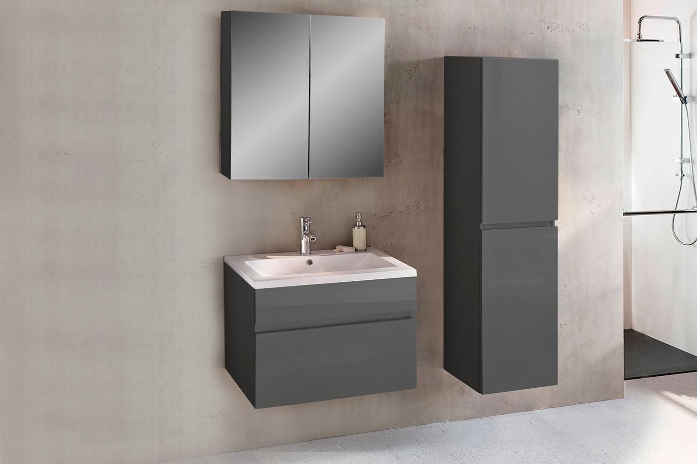 sam badezimmerm bel parma 3tlg grau hochglanz 80 cm auf. Black Bedroom Furniture Sets. Home Design Ideas