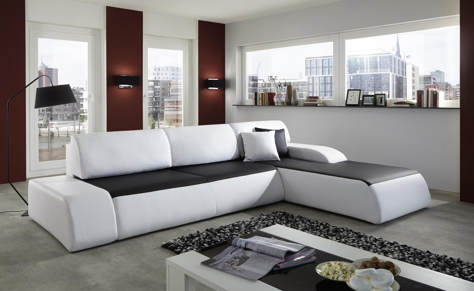 sam ecksofa schwarz wei sol 280 x 220 cm auf lager. Black Bedroom Furniture Sets. Home Design Ideas