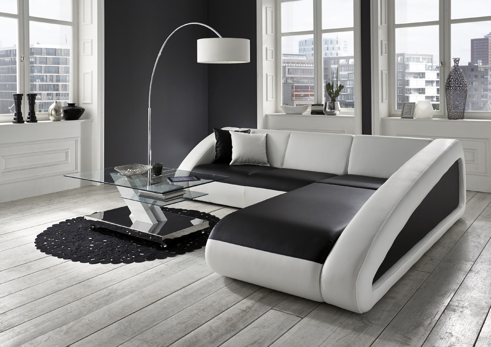 sam ecksofa schwarz wei ciao polsterecke 270 x 250 cm auf lager. Black Bedroom Furniture Sets. Home Design Ideas